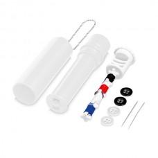 Kit de costura. ABS. Incluso 2 agulhas, 4 botões, 4 linhas de cor e  1 escova limpa fatos.