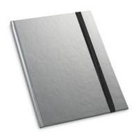 Caderno capa dura. Com 80 folhas pautadas.