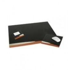 Conjunto para mesa de escritório. Couro sintético. 3 peças: base de mesa, mouse pad e porta cartão