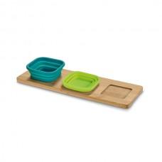 Base de mesa com 3 potes. Bambu e silicone. Incluso caixa de cartão.